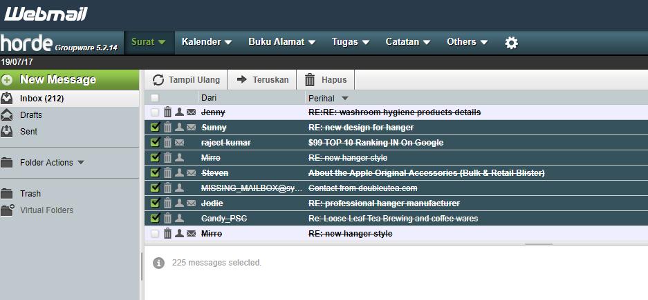 Tidak bisa menghapus Email/ Pesan di Webmail Horde